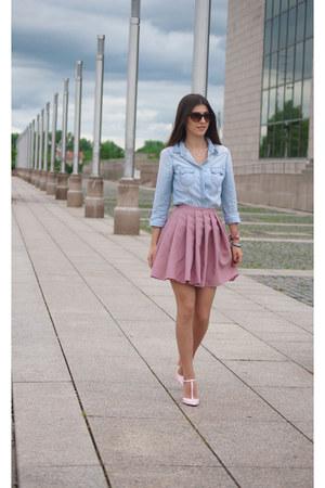 blue Stradivarius shirt - brown Accessorize sunglasses - bubble gum Zara heels