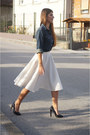 White-my-design-skirt-black-zara-heels