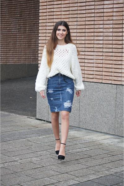 Blue My Design Skirts, White H\u0026M Sweaters, Black H\u0026M Belts