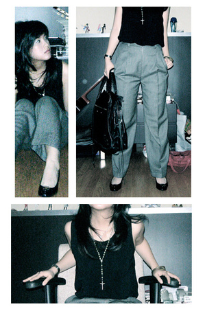 Mphosis shirt - vintage pants - balenciaga purse - hogan shoes