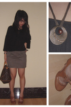 Mango shirt - Topshop skirt - next shoes - Louis Vuitton purse