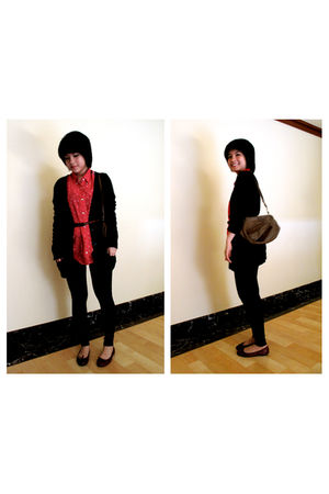 black Zara cardigan - red osaka shirt - red Repetto shoes - black Zara leggings