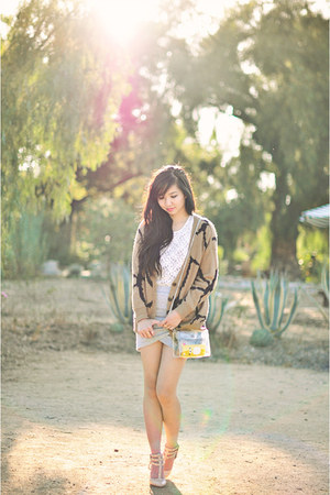 camel camel Olive & Oak cardigan - silver wrap Tobi skirt