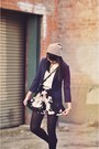 Navy-schoolboy-thrifted-blazer-black-floral-missguided-shorts