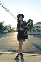 deep purple feather everly jacket - black fringed Hellz Bellz dress