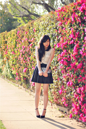 black pleather Sparkle & Fade skirt - ivory sheer button-up Double zero shirt