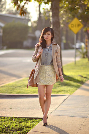 light blue lace Endless Rose skirt - tan trench Express coat