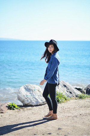 black Gap jeans - navy denim madewell shirt