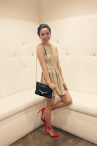 gold sequin TFNC dress - poppy Shoe Cult heels