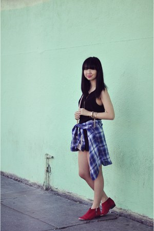 black UO romper - blue plaid JACHS Girlfriend shirt