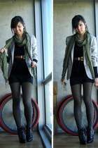 green H&M scarf - black Forever 21 top - brown vintage belt - gray Urban Outfitt