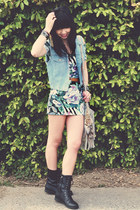 light blue denim vintage vest - black combat twisted boots - pink MinkPink dress