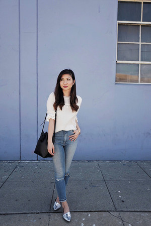 blue slim mom asos jeans - ivory tassed blouse H&M shirt