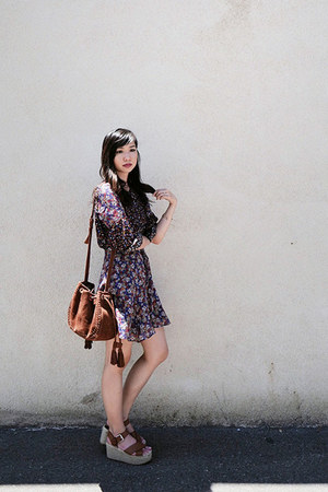 purple Mango dress - brown Mango sandals