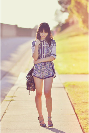 navy Chic Nova shirt - deep purple floral track Tobi shorts
