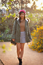 charcoal gray striped style moi skirt - army green parka Aeropostale jacket