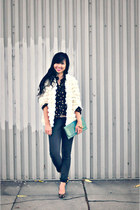 black Flying Monkey jeans - ivory Nasty Gal jacket - black Goddess Wing shirt