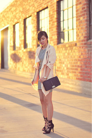 dark gray striped dress - eggshell Sheinside coat - black Choies pumps