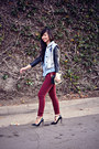 Light-blue-denim-forever-21-shirt-brick-red-bordeaux-zara-jeans
