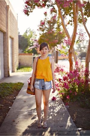 gold ruffled crop Zara top - sky blue slasher flick MinkPink shorts
