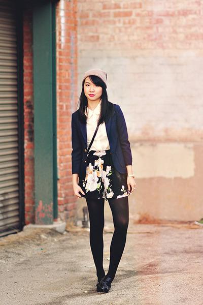 black floral Missguided shorts - navy schoolboy thrifted blazer