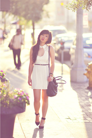 white Nasty Gal dress - black Zara heels