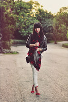 ruby red plaid Zara scarf - gray metallic moto Nasty Gal jacket