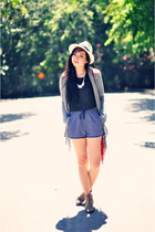 blue dolphin Forever 21 shorts - black silk crop UO top