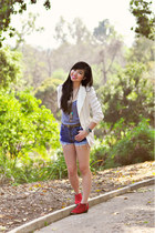 ivory Lovers  Friends blazer - blue 501 Levis shorts