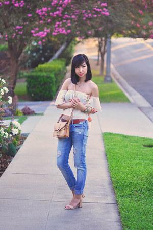 neutral Luna B blouse - blue boyfriend Zara jeans - nude Rebecca Minkoff purse