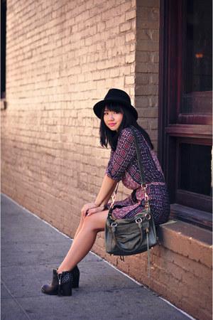 purple dropwaist Love 21 dress - army green mab mini Rebecca Minkoff bag