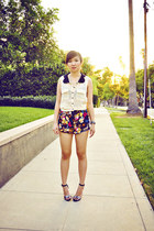 Motel shorts - collared doublezero shirt - Zara heels