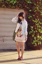 eggshell muchachos One Teaspoon dress - white denim moto Aeropostale jacket