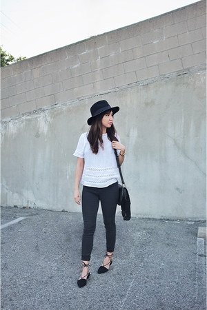 white new look shirt - black lace up asos flats