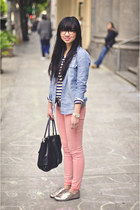 pink Siwy jeans - black satchel botkier bag - striped H&M t-shirt