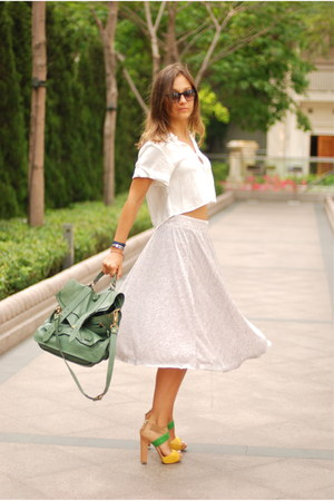 Nine West shoes - Initial shirt - PS1 bag - Hermes bracelet - Zara skirt - Prism
