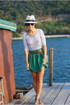 H&M hat - H&M bodysuit - asos flats - Topshop belt - Zara skirt - asos glasses