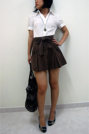 g2000 shirt - Forever21 skirt - Vincci shoes - Promod purse