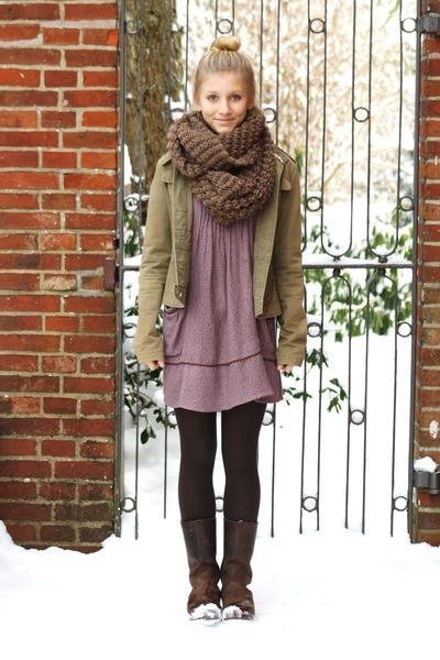 shoes - zara dress - only jacket - hallhuber scarf - hm socks