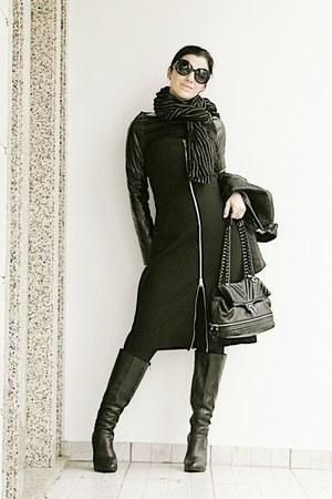 black Mango jacket - black tall wedge asos boots - black Zara dress