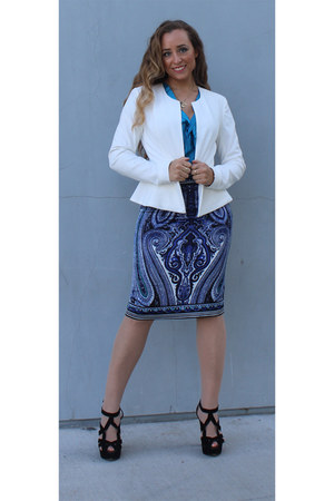 blue silk INC skirt - white Forever 21 blazer - black Zara heels