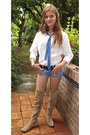 Camel-boots-white-white-shirt-shirt-sky-blue-denim-shorts-shorts