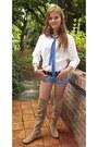Camel-boots-white-white-shirt-shirt-sky-blue-denim-shorts-shorts
