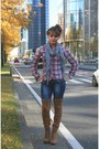 Camel-bershka-boots-navy-market-jeans-ruby-red-plaid-shirt-mim-shirt
