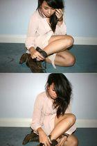 beige Topshop dress - brown vintage boots