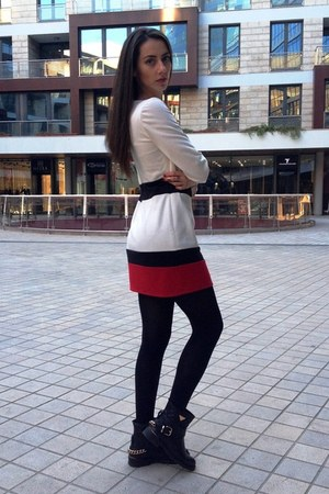 black Laura Biagiotti boots - red custom made dress - beige Zara coat