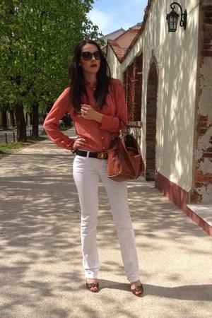 brown bag - white phard jeans - dark brown renato balestra sunglasses