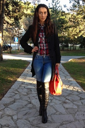 red Stradivarius shirt - dark gray Zara coat - blue Esprit jeans - red Paolo bag