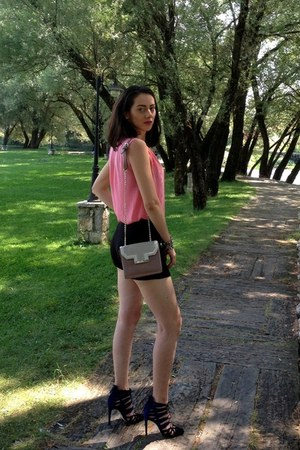 pink Zara bag - black Zara shorts - navy Zara heels - bubble gum Zara blouse