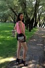 Pink-zara-bag-black-zara-shorts-navy-zara-heels-bubble-gum-zara-blouse